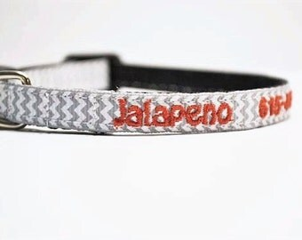 "Personalized Cat Collar / Mini Dog Collar / Tiny Breeds / gray chevron / Made to Order / 3/8"" WIde"