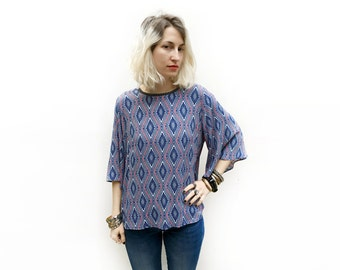 Blue Geometric Blouse, Loose Bohemian Top, Blue Tops, Wide Sleeves Top, Loose Clothing, Bell Sleeve Shirt, Geometric Print Top / Last Size M