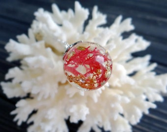 Coral pink necklace under the sea jewelry gift for bride sterling silver nature necklace sphere resin ball pressed flower bridal shower gift