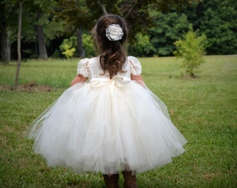 Tulle & Lace Tutu Flower Girl Dress - Perfect For A Flower Girl, Pageant, Baptism  - The Raelyn Dress -  Sizes 9 Months - 12 Years