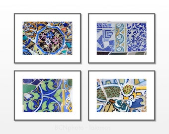 Blue living room, wall art set, Coastal art, Gaudi, Set of 4, Beach house decor, Bathroom decor, Wall Art prints, Office wall art