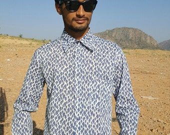 Man Long Sleeves Shirt made of Pure Cotton  Blue and Green Fishes Handmade  Print