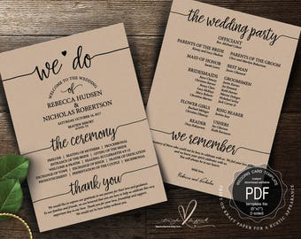 Wedding Program PDF card template, instant download editable printable, Ceremony order card in rustic calligraphy theme (TED410_2)