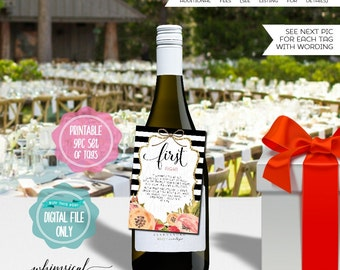 """Year of Firsts Wine Bottle Tags """"Stripes"""" (Printable File Only) Wine Gift, Gift for the Couple, First Valentines, Wedding Night, First Fight"""