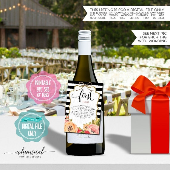 """Year Of Firsts Wine Bottle Tags """"Stripes"""" (Printable File"""
