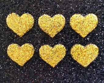 5 pcs - Bright Gold Glitter Heart Resin Flatback Cabochon - 36mm - Kitsch - Decoden - DIY - Valentines Day