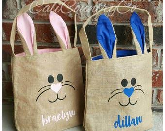Burlap Easter Bunny Bag, Easter Bunny Basket, Kids Easter Bag, Kids Easter Basket, Personalized Easter Bag, Personalized Easter Basket