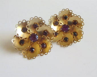 Purple Rhinestone Earrings, Vintage, Deep Amethyst Crystals & Scalloped Gold Tone Metal Clips, Floral Motif, Retro!