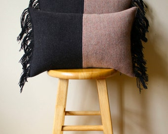 Soft Pink & Black Wool Pendleton Pillow Cover with Black Fringe - 12x18