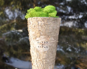 Birch vase rustic vase birch bark vase flower vase birch vases wood vase personalized vase birch centerpiece birch wedding wood vases