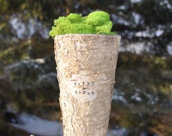 Birch vase rustic vase birch bark vase flower vase birch vases wood vase personalized vase birch centerpiece birch wedding wood vases