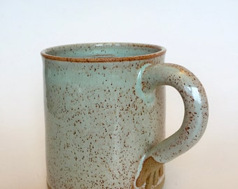 Stoneware Hand Thrown Pottery Mug Mint green. Tea cup. Coffee cup. In stock.