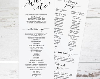 Printable Wedding Program Template, Rustic Wedding Programs, Order of Ceremony, DIY Wedding Programs, Wedding Program Template Download