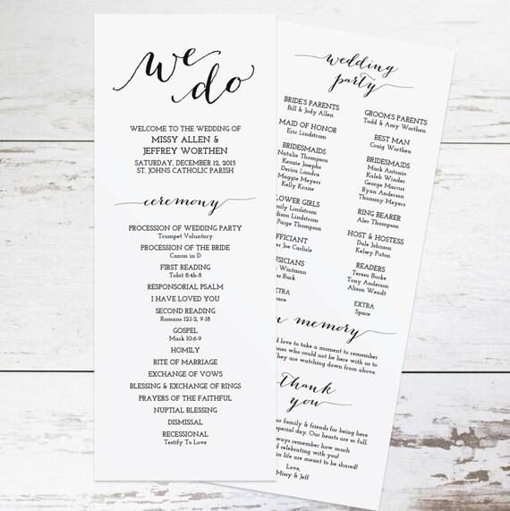 Wedding Brochure Ideas: Printable Wedding Program Template Rustic Wedding Programs