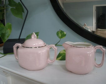 Vintage Pink And Silver, Cream And Sugar Set