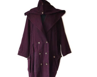 Vintage Purple Womens Trench Coat Raincoat Double Breasted Oversized Trench Coat One Size