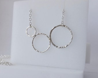 Sterling Silver 3 Hammered Circles Pendant and Necklace