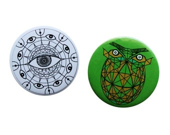 Owl Pin Button- Trippy eye Pin Badge- Set of 2 Art Badge Pin- Psychedelic Buttons- Graphic pinback button- owl pinback button- Visionary art