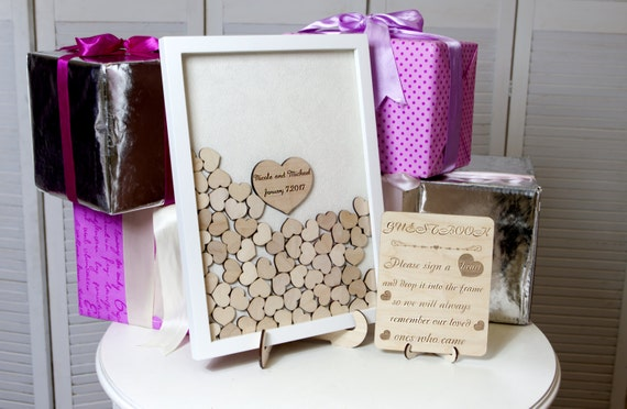 Wedding Guest Book Guest Book Drop Top hearts Rustic guest book Hearts Guestbook Alternative Wood Heart Guest Box Wedding Sign