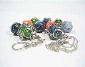 Phantom D20 Chain Mail Necklace or Key Chain with Removeable Dice - Choice of Colors - Gifts For Nerds