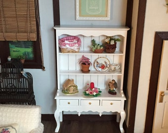 Miniature Hutch, White Queen Anne Style Dresser With Three Drawers, Dollhouse Miniature Furniture, 1:12 Scale, White Hutch, Wood Furniture