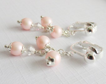 Pink flower girl earrings, small clip on earrings, little girl jewelry, pink pearl earrings, flower girl gift, wedding jewelry