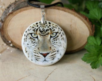 Leopard Polymer Clay Medallion