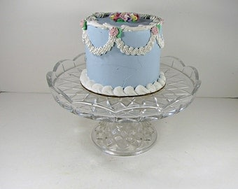Vintage CRYSTAL CAKE STAND Scallop Rim Beveled Lead Glass Cupcake Pastry Display