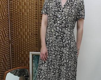 Black and Cream Floral Button Down Midi Dress Size UK 10, US 6, EU 38
