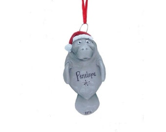 FREE SHIPPING Manatee Personalized Christmas Ornament - Manatee in Santa Hat - Hand Personalized Christmas Ornament