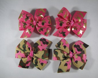 Hunting Hair Bow, Pink Camo Pigtail Bow Set, Deer Hair Clips for Twins/Sisters, Camouflage Birthday Party or Baby Shower, Pink Camo Barrette