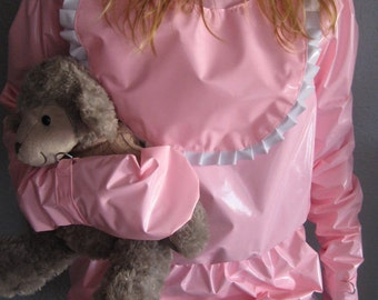PINK PVC Romper Suit, Lockable Mitts & BiB ABDL
