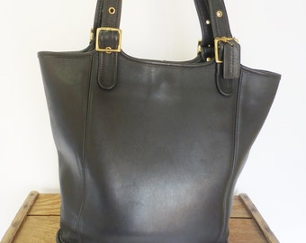 Coach Vintage Black Leather Simple Chic Oversize Legacy Tote Bag Shopper Purse - 9090