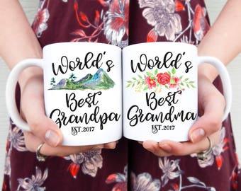 World's Best Grandparents Couple Mug Set   Couples Mugs, Mug Set, Grandpa Mug, Grandma Mug, Pregnancy Announcement, Gifts for Grandparents