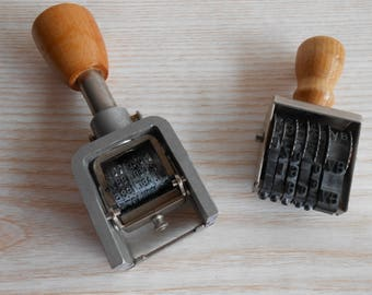 Set of 2 Vintage Stamp,Ticket Price Tags, Automatic Numbering Machine, Old Polygraph Stamp, Numbering Stamp, Old Date  Stamper, Hand stamp,