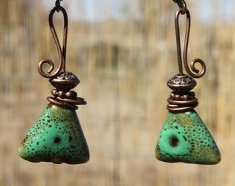 Green Earrings Copper Earrings Dangle Jewelry Ceramic Earrings Earthy Earrings Boho chic Earrings Gift Ideas For her