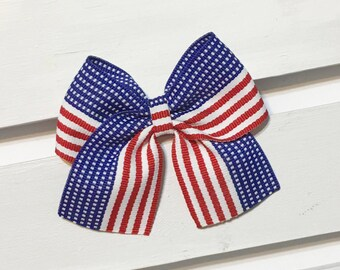 Memorial Day clip in hair bow, clip in hair bow, 4th of July hair bow, red, white, blue hair bow, American flag hair bow, red bow, white bow