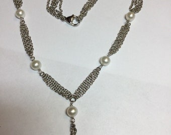 Stunning Honora Signed Sterling White Pearl Lariat Style Necklace