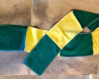 Yellow & Green Fleece Scarf School Spirit Green Bay Packers Striped Scarf