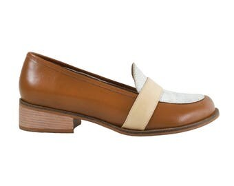 Caramel Leather Loafers - Handmade Leather Shoes - Comfortable Shoes - Womens Shoes - Rounded Toe - Textured Leather