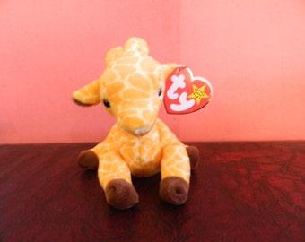 """TY Yellow Giraffe Beanie Baby """"Twigs"""" (B)"""