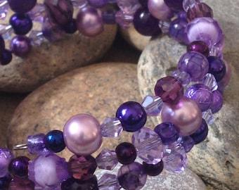 Memory Wire Wrap Bracelet, Plum, Purple, Lavender