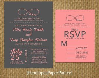 Gray and Coral Wedding Invitation,Infinity Love Symbol,Gray,Coral,Romantic,Elegant,Custom,Printed Invitation,Wedding Set,Opt RSVP,Envelope