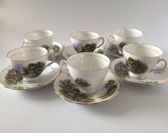 Royal Vale Bone China Cups  & Saucers (x6) England