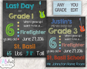 Editable Last Day Of School Chalkboard, Last Day of School Sign Guitar Lover, Reusable First Day of School Signs, Printable Back to School