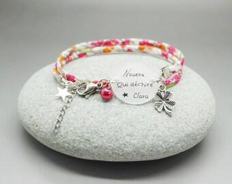 """bracelet liberty rouge cabochon """"Nounou qui déchire"""" + prénom fille garçon - bracelet personnalisable - gift babysitter"""
