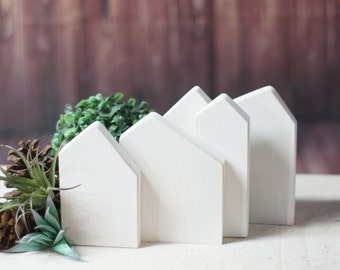 Small Wooden houses, Small wood house, Little wooden painted house, Natural wood decoration, Rustic home decor, Miniature village, GFT