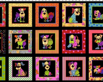 Loralie Dog Happy ! Panel Cotton Fabric