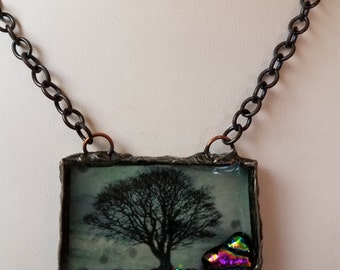 Tree of Winter Necklace, Silver Soldered Bezel Resin Dichroic Glass