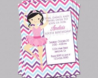 Ballerina Invitation, Ballet Birthday Invite, Tutu Party Invite, Girls Birthday Invitation, Printable Invite, Kids Birthday Party Invite